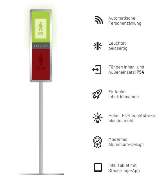 GoVivet Kundenampel mit auto. Personenzählung inkl. Stativ
